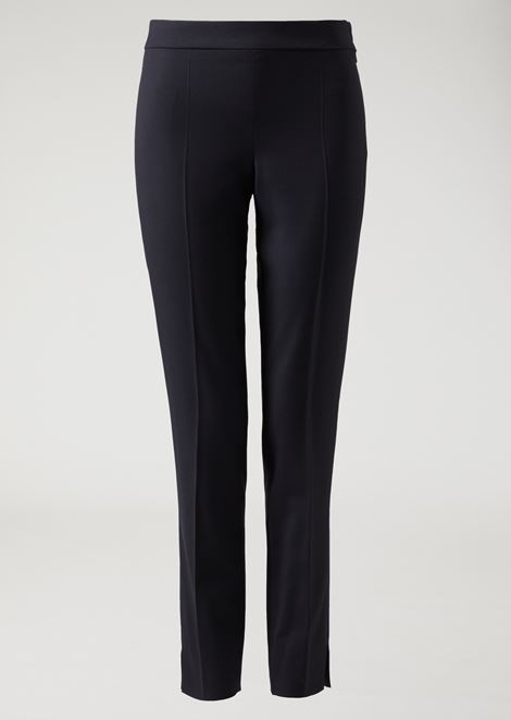 Stretch wool cigarette trousers with hem slits