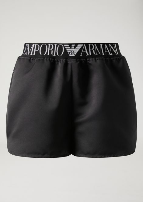 Shorts in satin fabric with elasticated band with logo