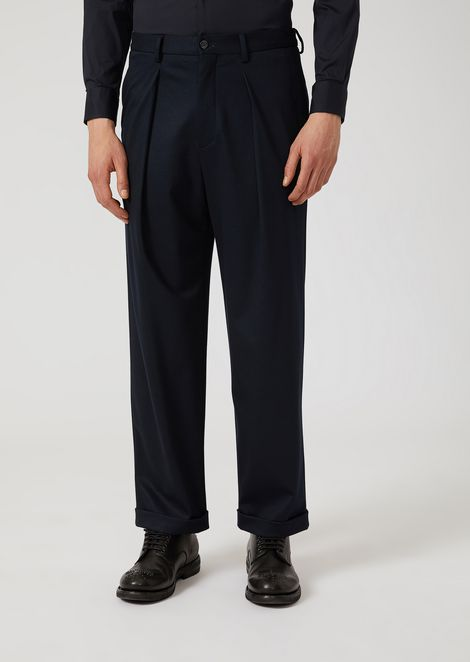Stretch jersey trousers with removable belt