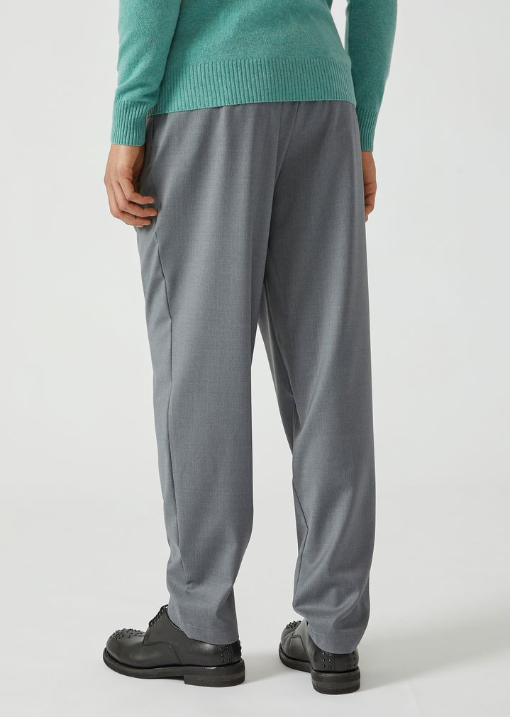 EMPORIO ARMANI Drawstring trousers in lightweight wool Casual Trousers Man e