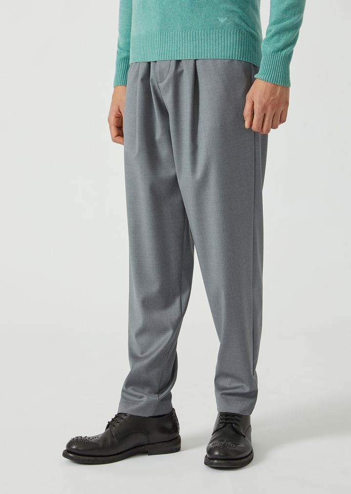 EMPORIO ARMANI Drawstring trousers in lightweight wool Casual Trousers Man f