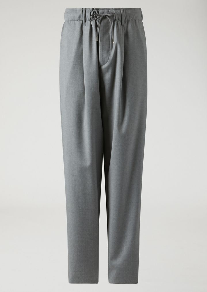 EMPORIO ARMANI Drawstring trousers in lightweight wool Casual Trousers Man r