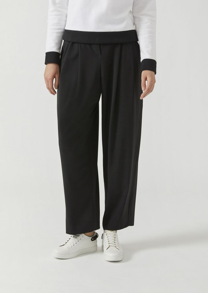 af361624fa Stretch wool crepe trousers with ring belt   Woman   Emporio Armani