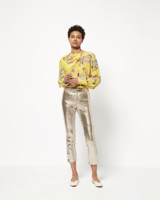 NOVIDA silver colour leather trousers