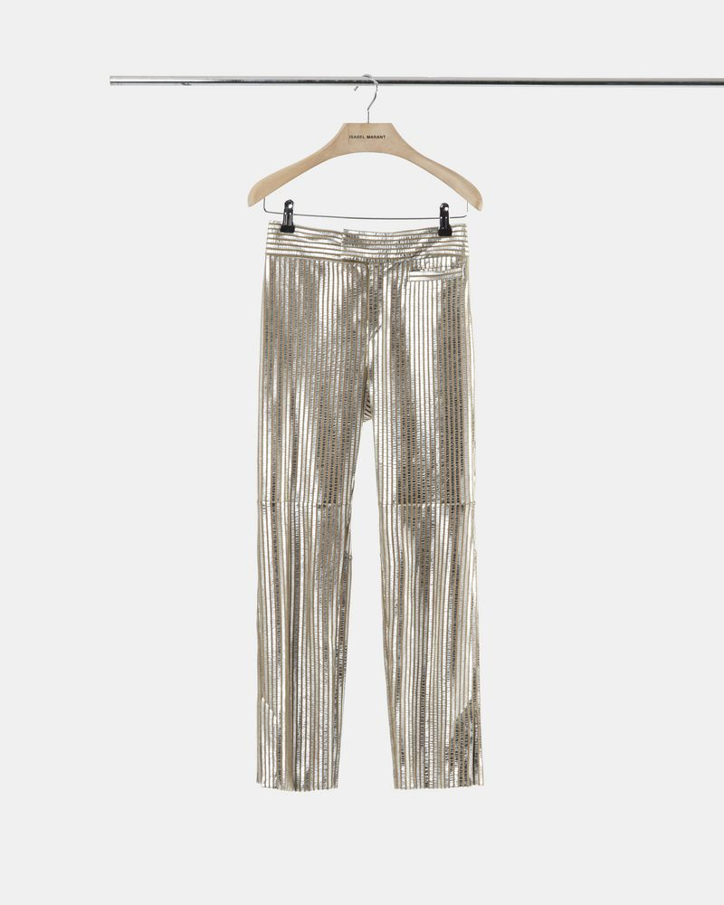 NOVIDA silver colour leather trousers ISABEL MARANT