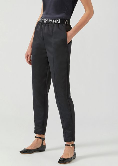 Satin trousers with elasticated logo band