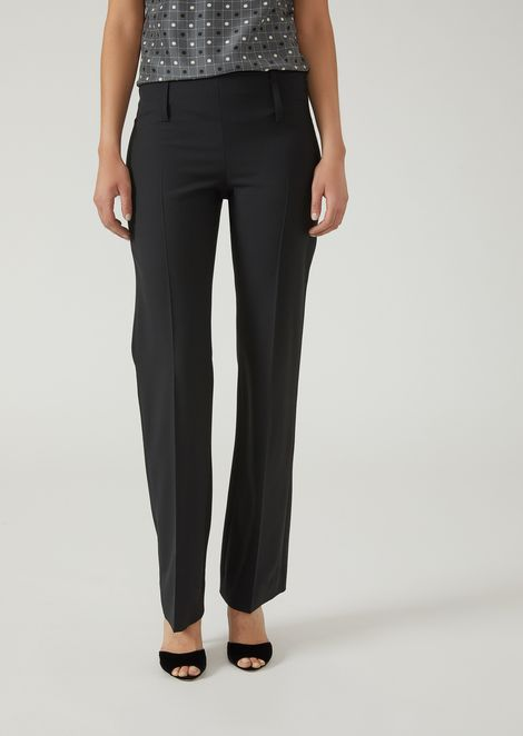 Stretch wool trousers with a wide leg cuff