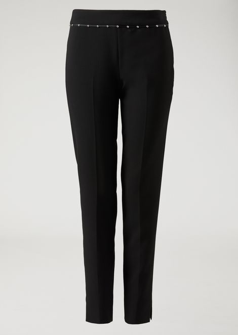 Technical stretch cady trousers with decorative studs