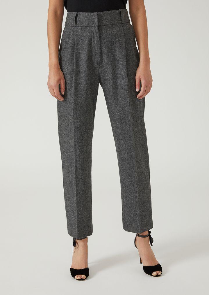 65eb787f51 Pantaloni con pinces in flanella | Donna | Emporio Armani