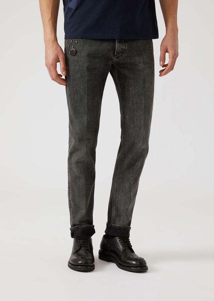 018e35e3f70c J00 10.5 denim jeans with decorative studs   Man   Emporio Armani