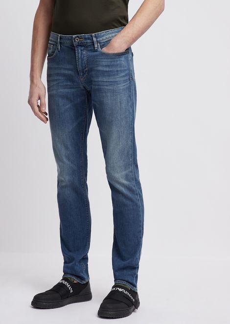 Slim-fit J06 11 oz jeans in distressed denim