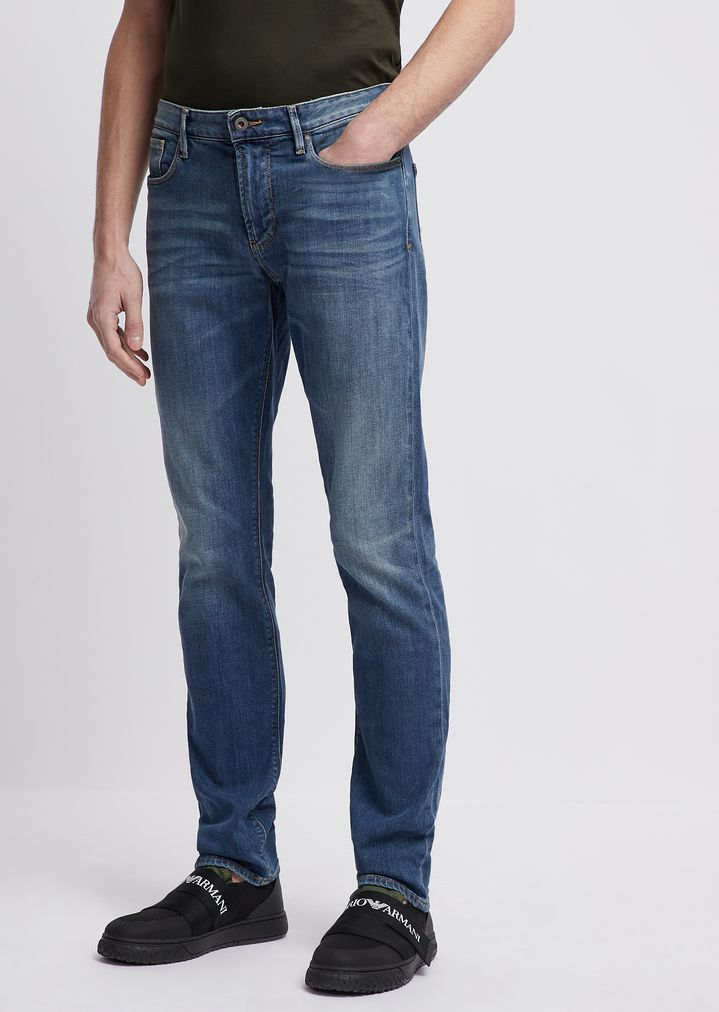 99ca48fa5f8 Slim-fit J06 11 oz jeans in distressed denim | Man | Emporio Armani