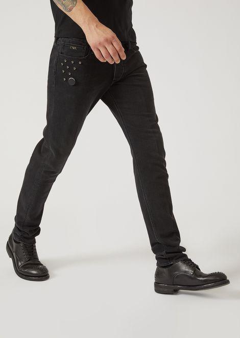 J00 10.5 denim jeans with decorative studs