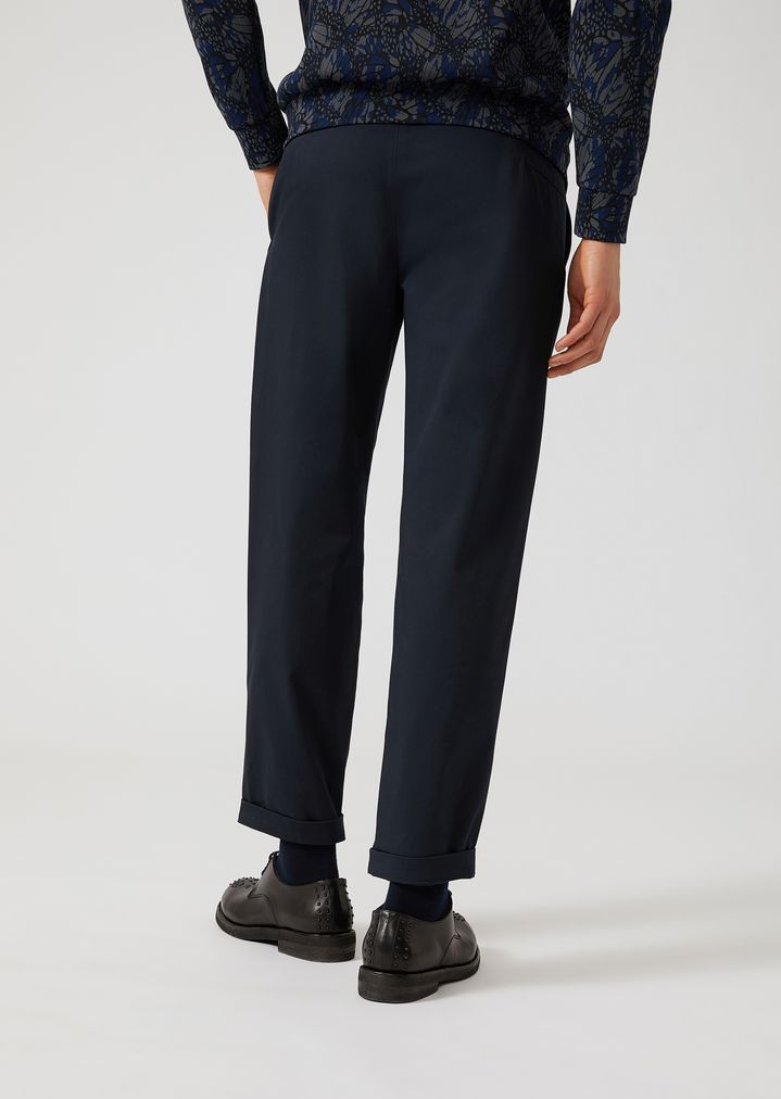 EMPORIO ARMANI Stretch cotton trousers with slight front pleats Casual Trousers Man e