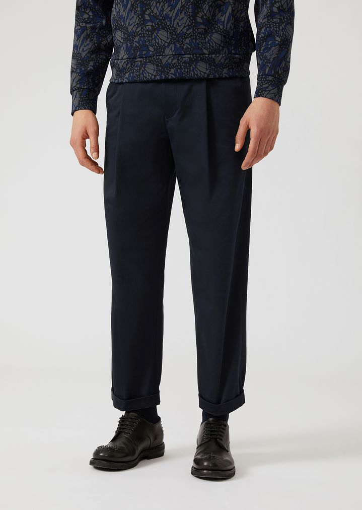EMPORIO ARMANI Stretch cotton trousers with slight front pleats Casual Trousers Man f