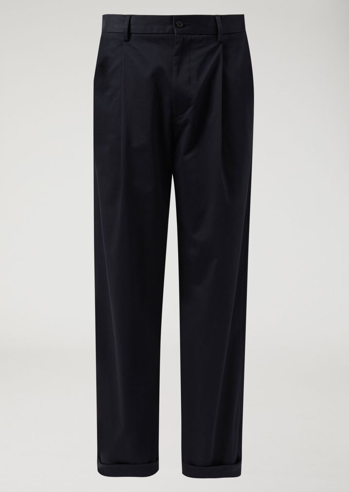EMPORIO ARMANI Stretch cotton trousers with slight front pleats Casual Trousers Man r