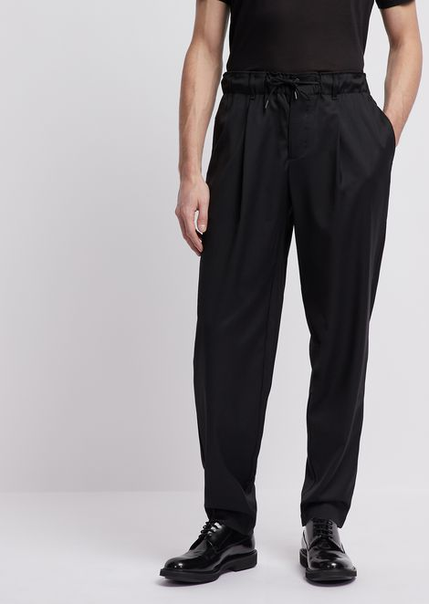 Drawstring pants in light wool