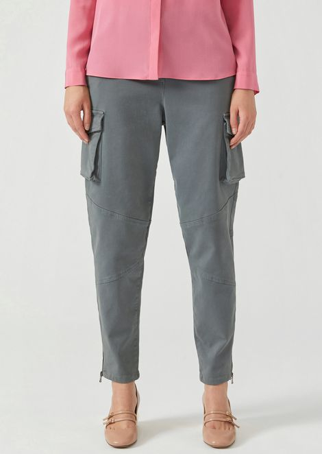Cotton drill trousers with cargo pockets and hem zips