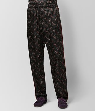 PANTALONE IN SETA NERO/NEW RED