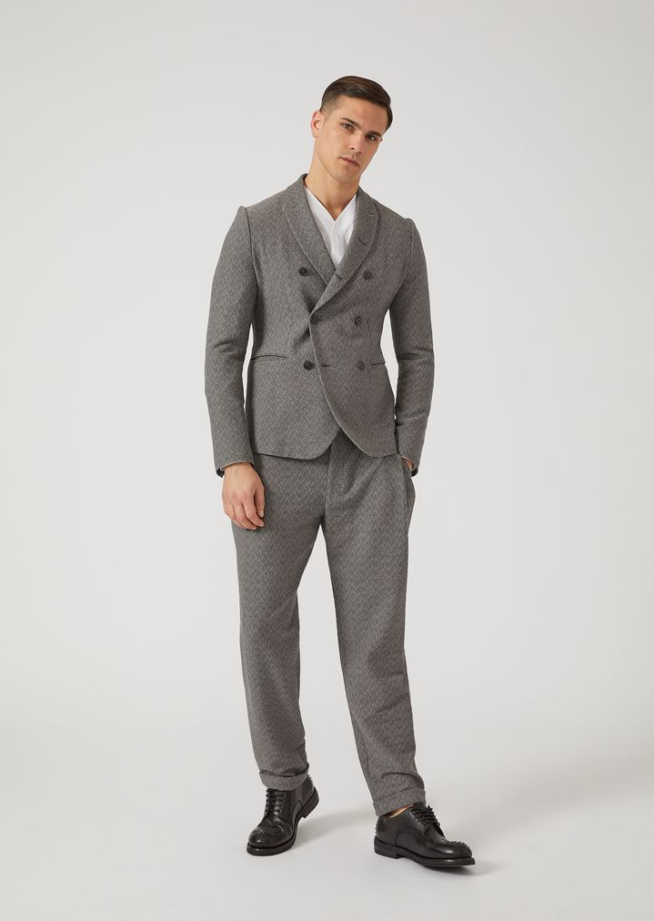EMPORIO ARMANI Trousers in chevron pattern stretch virgin wool Casual Trousers Man d