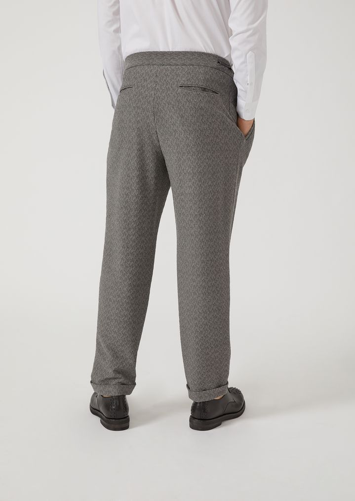 EMPORIO ARMANI Trousers in chevron pattern stretch virgin wool Casual Trousers Man e