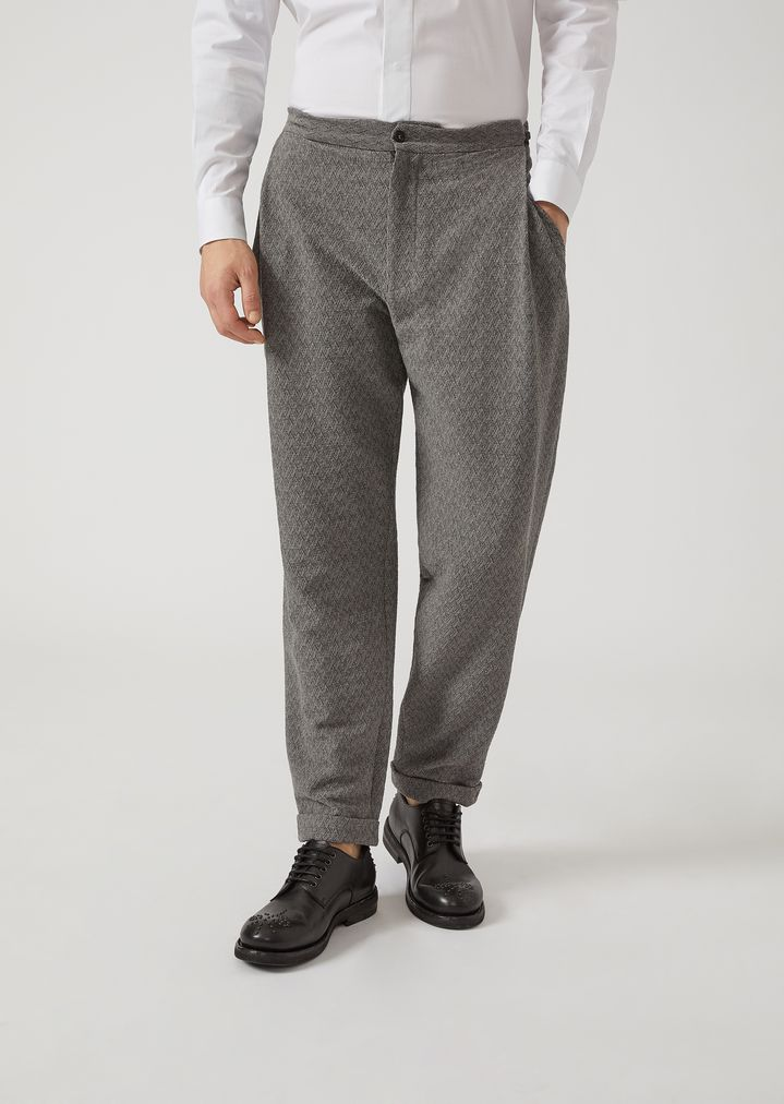 EMPORIO ARMANI Trousers in chevron pattern stretch virgin wool Casual Trousers Man f