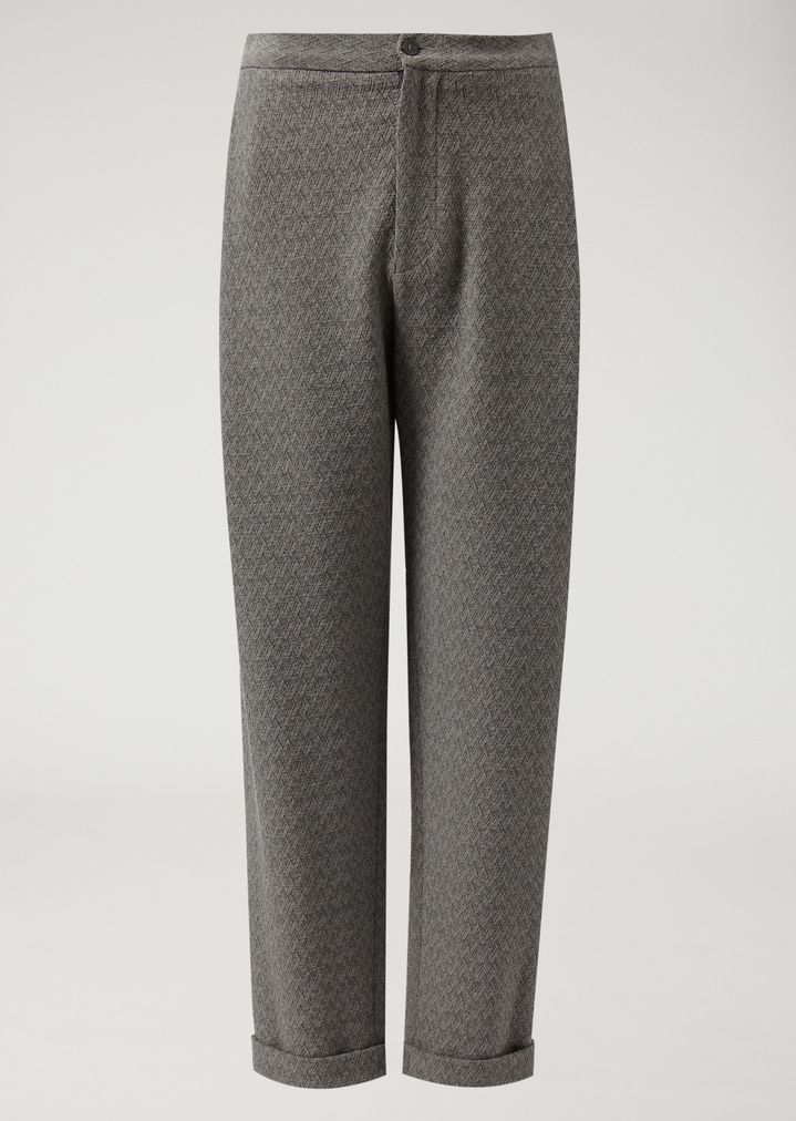 EMPORIO ARMANI Trousers in chevron pattern stretch virgin wool Casual Trousers Man r