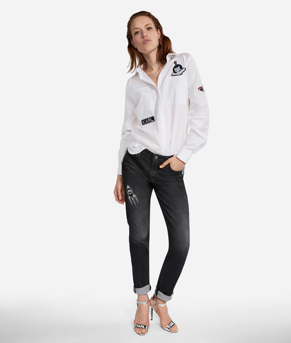 KARL LAGERFELD Karl Space Girlfriend Jeans Pants Woman f