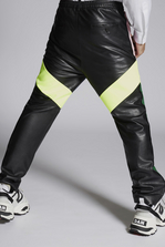 DSQUARED2 Mixed Leather Track Pants With Mesh Details Trousers Man