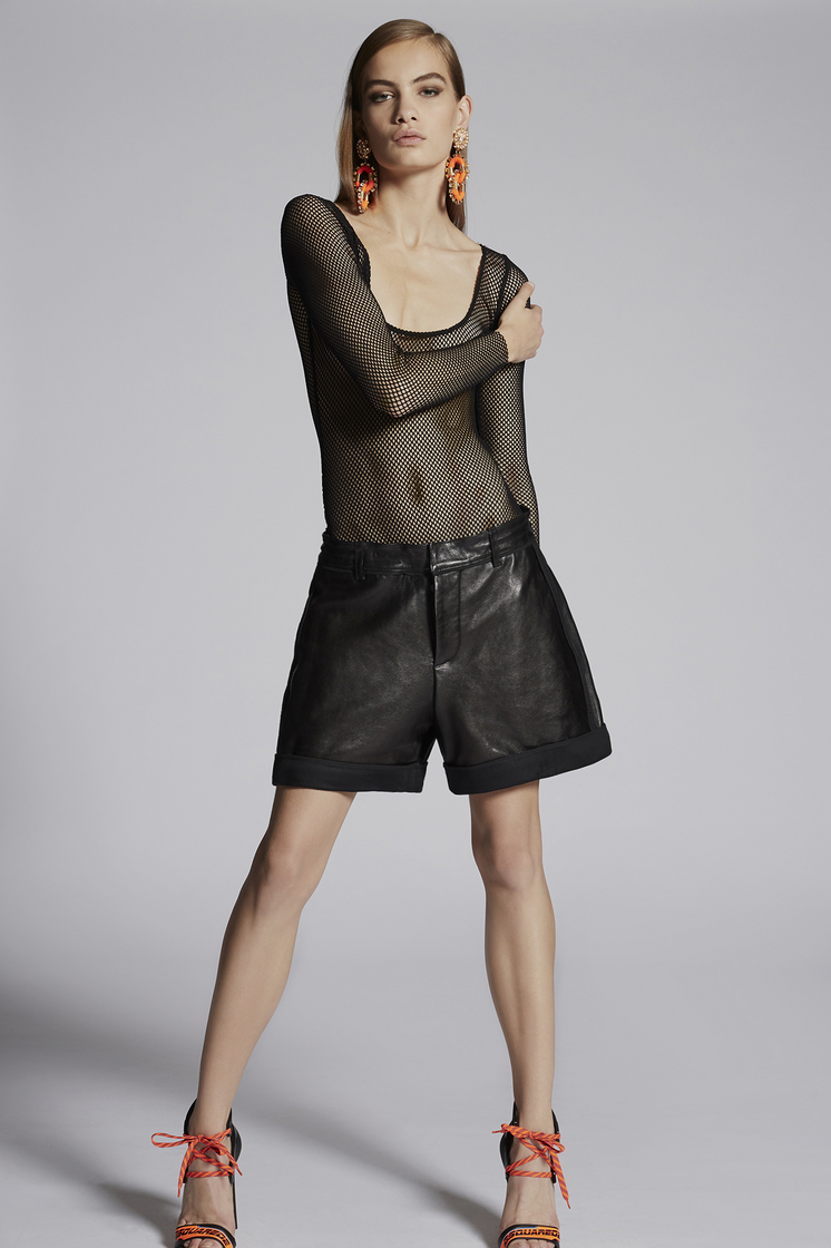 DSQUARED2 Marsha Inside-Out Leather Shorts Shorts Woman