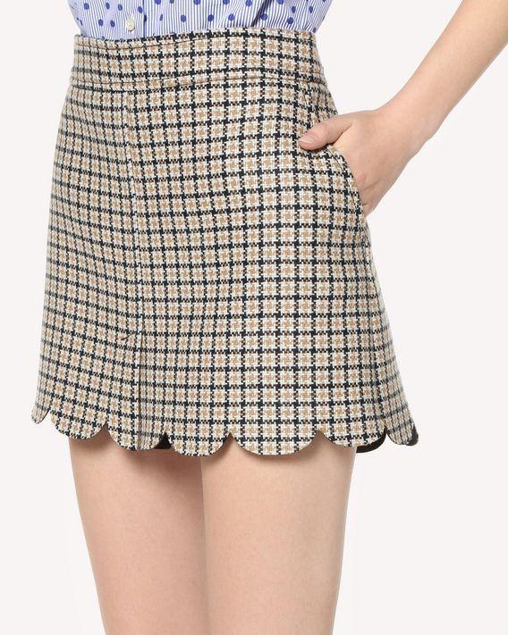 REDValentino Scallop detail Houndstooth mini skirt