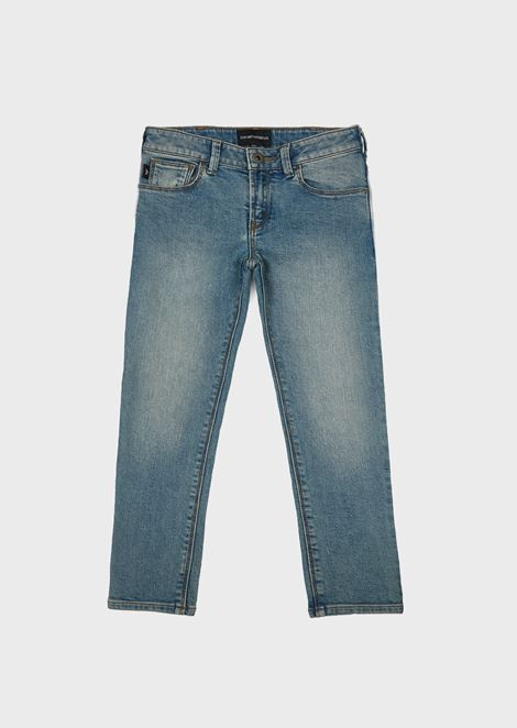 Sandblasted denim jeans