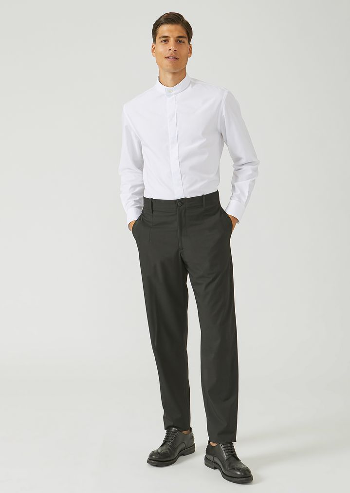 EMPORIO ARMANI Trousers in stretch tech twill Casual Trousers Man d