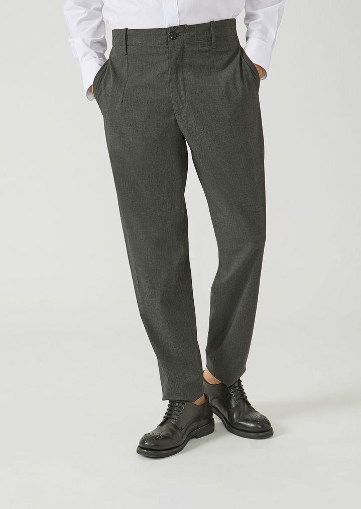 EMPORIO ARMANI Trousers in stretch tech twill Casual Trousers Man f