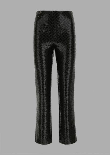 Pantaloni cropped rivestiti di paillettes con dettaglio in tessuto