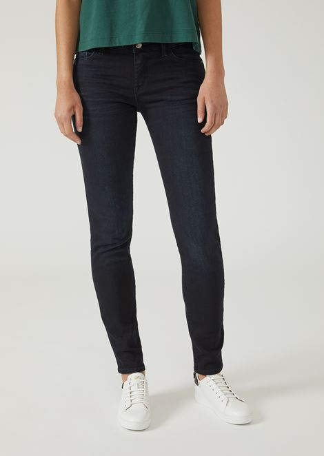 Super-skinny blue black raw stretch denim jeans