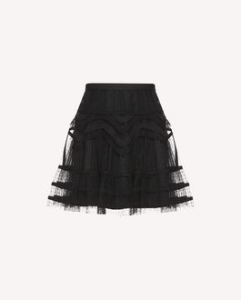 REDValentino Tubulars and lace embroidered Tulle skirt