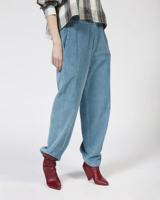 MELOY wide leg velvet trousers