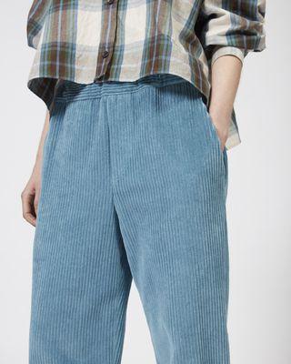 ISABEL MARANT PANT Woman MELOY wide leg velvet trousers r