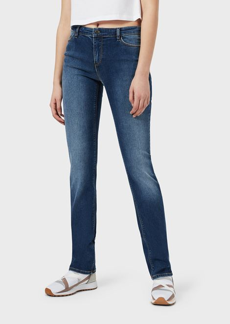 Straight-slim-fit J85 jeans in faded-effect stretch denim