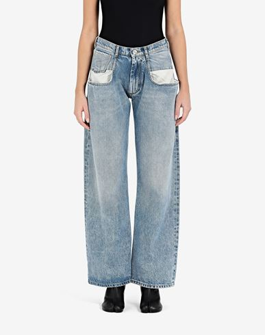 TROUSERS Straight jeans with contrasted pockets Blue