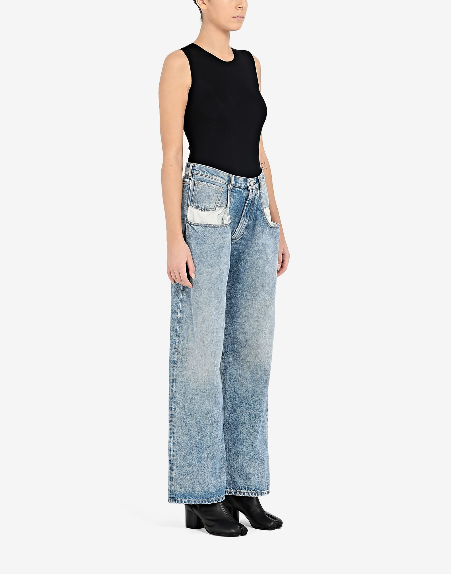 MAISON MARGIELA Vaqueros rectos con bolsillos en contraste Pantalones vaqueros Mujer d