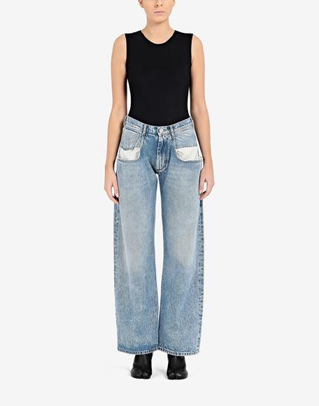 MAISON MARGIELA Vaqueros rectos con bolsillos en contraste Pantalones vaqueros Mujer r