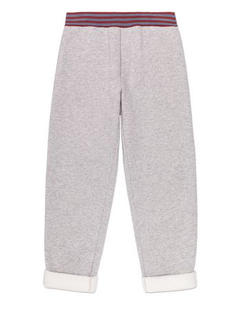 Marni GRAY MELANGE LONG COTTON PANTS Man