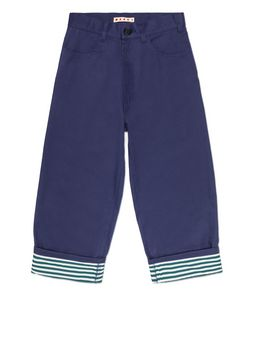 Marni BLUE COTTON PANTS WITH CONTRAST TURN-UPS Man
