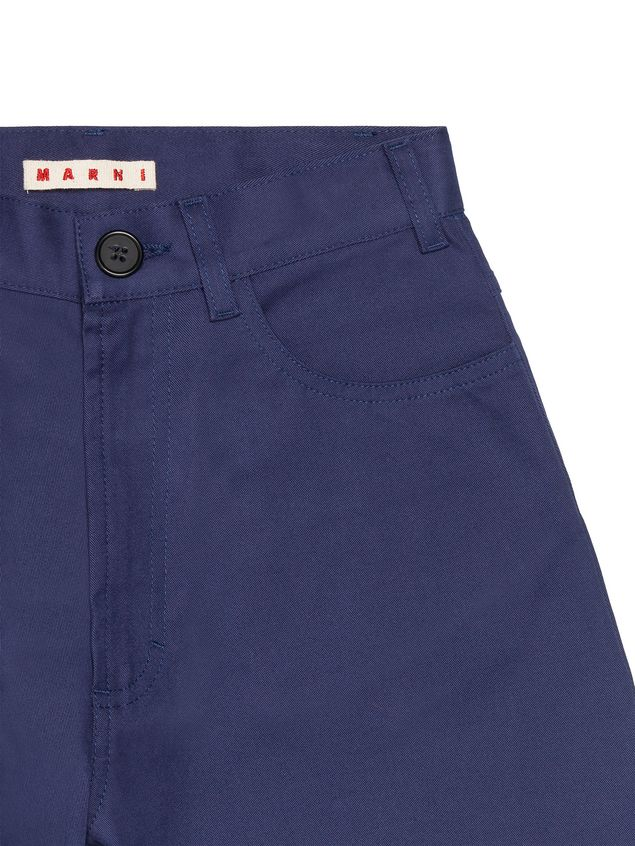 Marni BLUE COTTON PANTS WITH CONTRAST TURN-UPS Man - 4