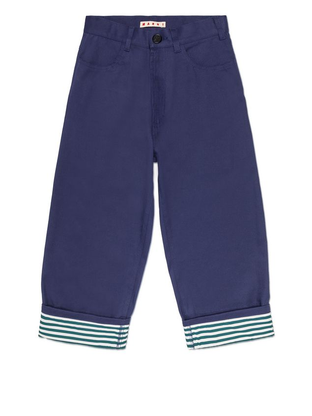 Marni BLUE COTTON PANTS WITH CONTRAST TURN-UPS Man - 1