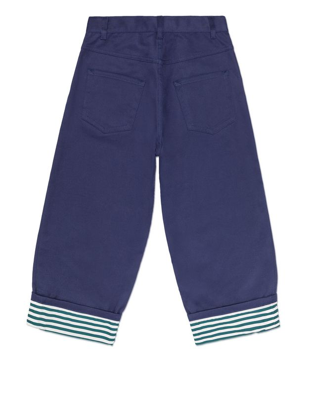 Marni BLUE COTTON PANTS WITH CONTRAST TURN-UPS Man - 3