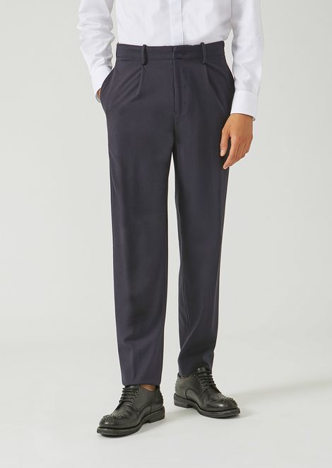 Classic loose stretch wool trousers