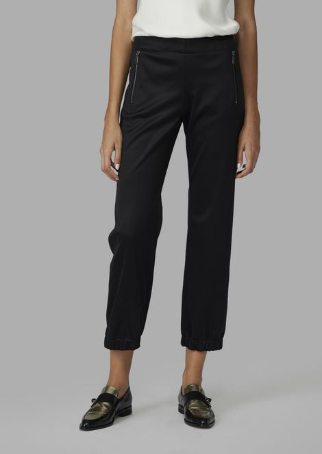 Glossy satin joggers with elasticated hems